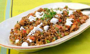 рецепт тёплого салата с чечевицей