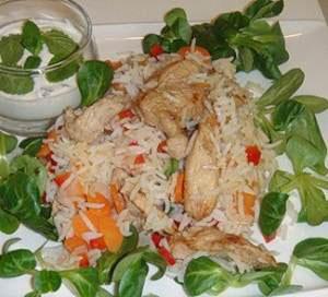 Цыплёнок с рисом и овощами